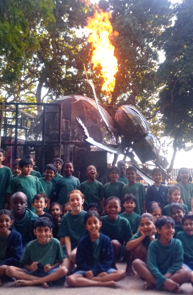 Students from the Tree-Tops Eco-School sit around the Dung Beetle stage.
